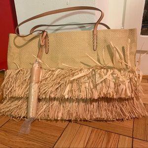 NWT Banana Republic straw tote w/ leather trim